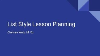 List Style Lesson Planning Presentation