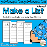 Make a List - List Writing Templates for Writing Stations