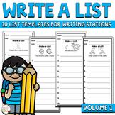Writing Center Activities | Write a List | Volume 1