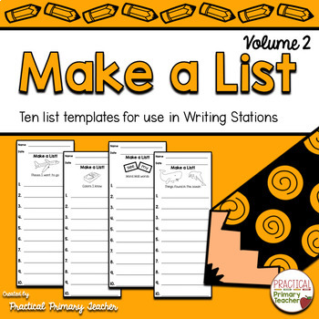 List Writing Templates for Writing Stations Volume 2