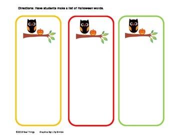 List Writing Activity-Halloween Theme