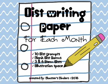 List Writing Paper - Monthly Prompts & Blank Form - Illust