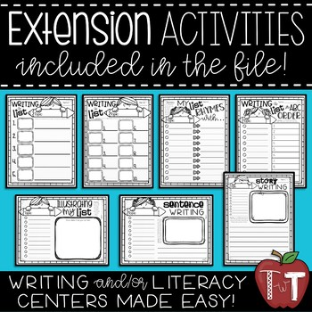 List Writing Prompts and Extension Activities {Writing Station/Literacy Center}