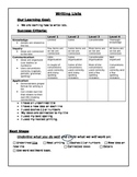 List Writing Rubric with learning goal and success criteria