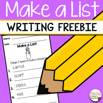 List Writing Templates for Writing Stations FREEBIE