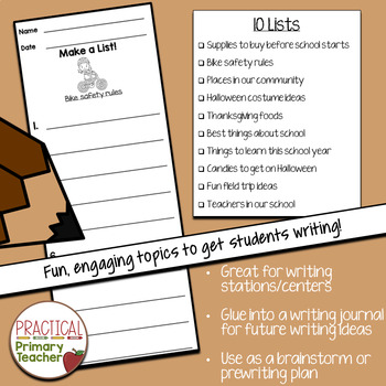List Writing Templates for Writing Stations Fall Edition