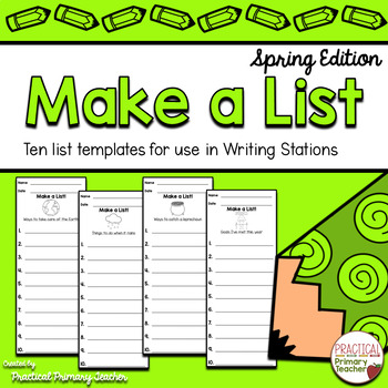 List Writing Templates for Writing Stations Spring Edition
