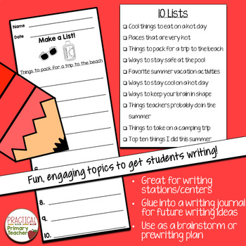 List Writing Templates for Writing Stations Summer Edition