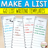 List Writing Templates for Writing Stations Year Long Bundle