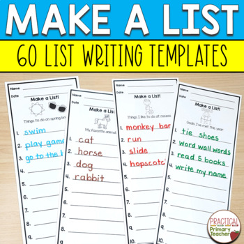 #SPRINGSAVINGS List Writing Templates for Writing Stations Year Long Bundle