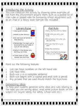 List Writing- Writing About Rules