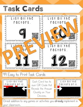 List all the Factors Task Cards with QR Code
