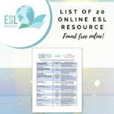 List of 20 ESL Resources Found Free Online
