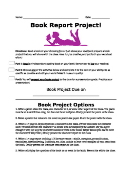 List of 20 Book Report Project Ideas!