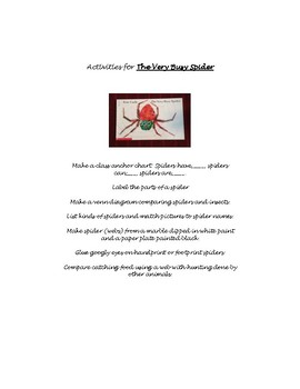 List of Activities for Eric Carle Author Study 1