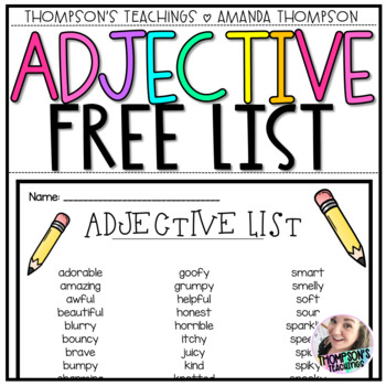 List of Adjectives- Great for Journals *FREEBIE*