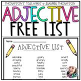 List of Adjectives FREEBIE