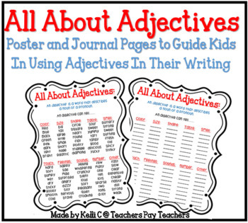 All About Adjectives ~ A List To Guide Kids To Use More Adjectives