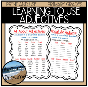 List of adjectives teaching resources teachers pay teachers list of adjectives for bulletin boards or journals fandeluxe Images
