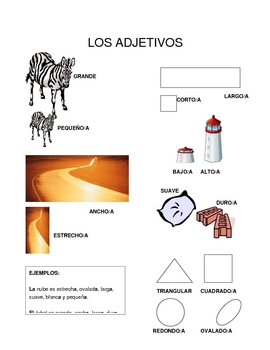 List of Basic Adjectives in Spanish with Pictoral representations