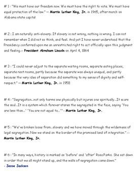 List of Civil Rights Segregation Quotes