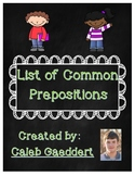 List of Common Prepositions