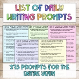 List of Daily Writing Prompts for the Entire Year