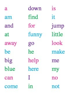 List of Dolch Pre Primer Sight Words
