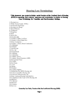 List of Hearing Loss Terminology for Transition and Post-Secondary Settings