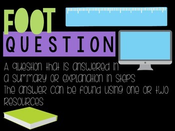 Types of Questions Posters - Inch, Foot, Yard for Genius Hour