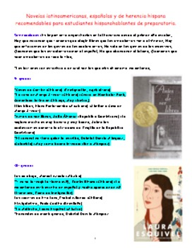 List of Latin American Novels for High School Students. Li