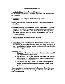 List of Literary Terms in Fiction