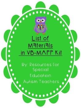 VB-MAPP Materials for Children with Autism: List for Kit