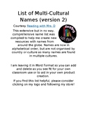List of Multi-Cultural Names for Resource Creation