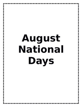 National Days - Entire Year!