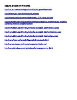 List of Natural Selection Websites for WebQuest