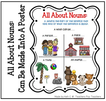 List of Nouns Page for Writing Binder or Poster for Classroom