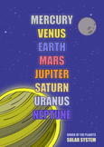 List of Planets POSTER ( Solar System )