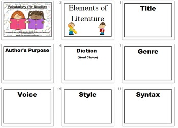 Reader Vocabulary List
