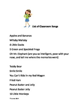List of Songs for Use in Classroom