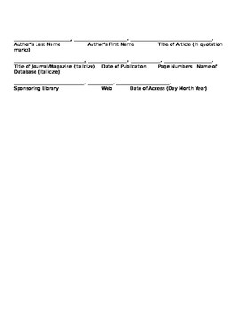 List of Sources Form in MLA