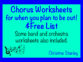 Substitute Worksheets List for Band, Chorus and Orchestra ~ $FREE