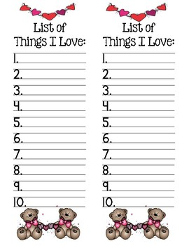 List of Things I Love