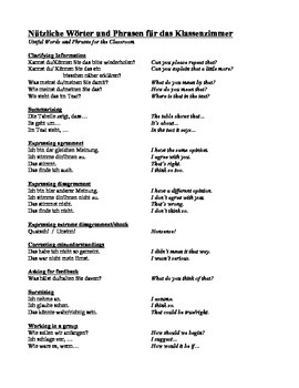 List of Useful Expressions for the Classroom - German/English