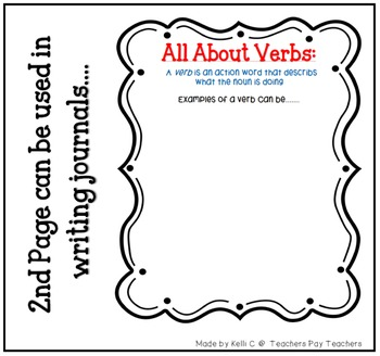 List of Verbs Page for Writing Binder or Poster for Classroom