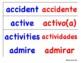 List of cognates - cognados English & Spanish (blue/red)
