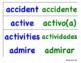 List of cognates - cognados English & Spanish (blue/green)