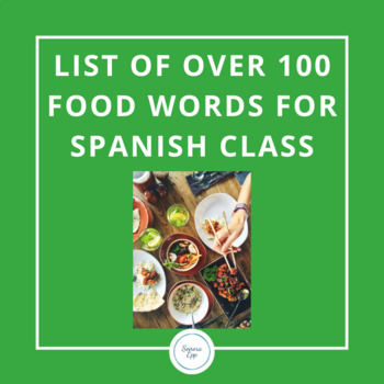 List of over 100 food words in Spanish with English translation!