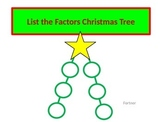 List the Factors Christmas Tree with Student Worksheet