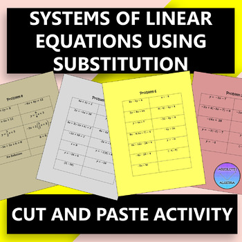 Linear Systems Substitution Color Teaching Resources | Teachers Pay ...